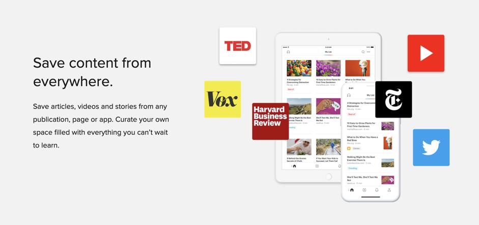 Screenshot of Productivity app: Pocket
